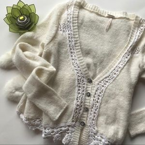 Free People Ivory Crochet Cropped Cardigan
